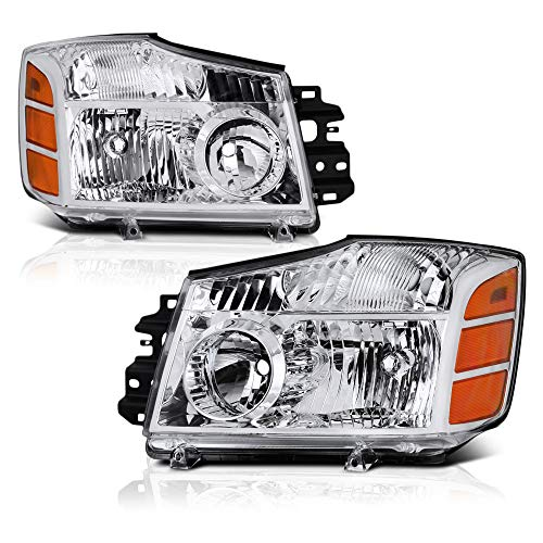 [For 2004-2015 Nissan Titan & 2005-2007 Armada] OE-Style Chrome Housing Headlight Clear Lens Headlamp Housing Assembly Replacement, Driver & Passenger Side