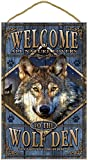 """(SJT96301) Wolf Den Welcome 10"""" x 16"""" Rustic Wood Plaque Sign featuring the artwork of Michael Messina offers"""
