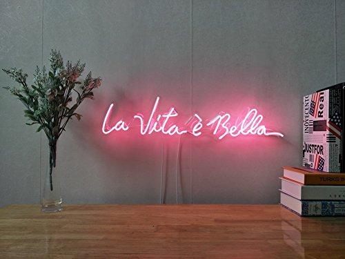 - La Vita è Bella Real Glass Neon Sign For Bedroom Garage Bar Man Cave Room Home Decor Handmade Artwork Visual Art Dimmable Wall Lighting Includes Dimmer