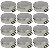 Mighty Gadget (R) 4 oz Round Tins Screw Lid Container (12 pack) - 3.125'' x 1.1875''
