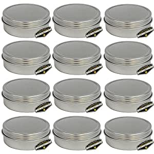 """Mighty Gadget (R) 4 oz Round Tins Screw Lid Container (12 pack) - 3.125"""" x 1.1875"""""""