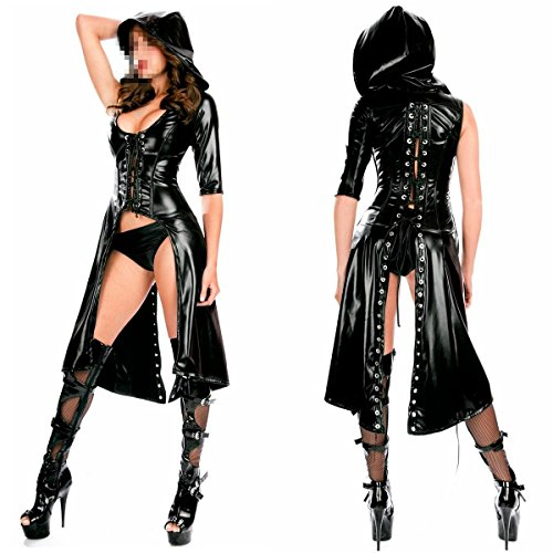 IGIG Women's Faux Leather Lace up Catsuit Hooded Cape Cloak Costume