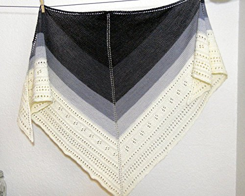 Hand Knit Gradient Shawl in Black, Grey and White by Custombearhugs Merino Wool Cashmere Blend by CustomBearHugs
