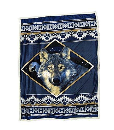 Reversible Sherpa/Microfiber Wolf Ridge Throw Blanket