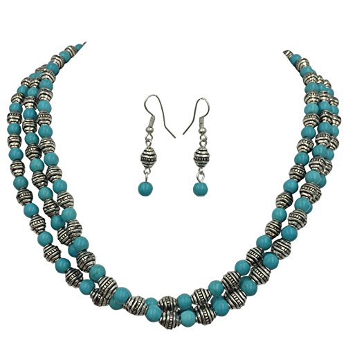 3 Row Beaded Layered Western Southwestern Look Necklace & Dangle Earring Set (Imitation Turquoise Silver Tone) by Gypsy Jewels