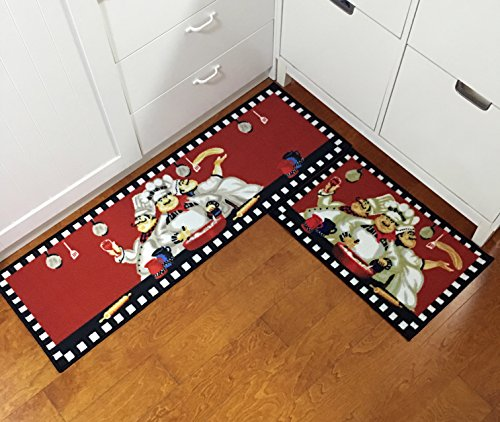 EUCH Non-slip Rubber Backing Carpet Kitchen Mat Doormat Runner Bathroom Rug 2 Piece Sets,15''x47''+15''x23'' (three chef) by EUCH (Image #4)