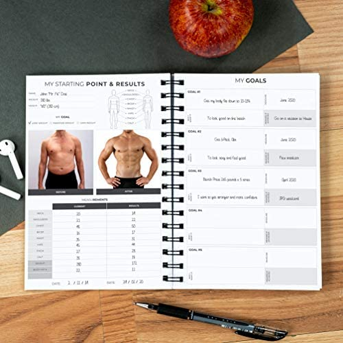 Clever Fox Fitness & Workout Journal/Planner Daily Exercise Log Book to Track Your Lifts, Cardio, Body Weight Tracker - Spiral-Bound, Laminated Cover, Thick Pages, A5 4