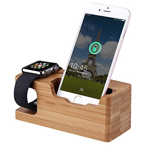Watch Charging Bracket, MWAY Bamboo Wooden Charging Stand for Apple Watch,3.0 Hub Charger Cradle Holder/Dock for iPhone,Samsung,Android,All Smartphone,3 USB Ports 5V 3A 1