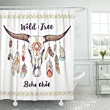 Emvency Shower Curtain Boho Chic Ethnic Native American Mexican Bull Skull with Feathers on Horns and Traditional Tribal Waterproof Polyester Fabric 72 x 72 inches Set with Hooks