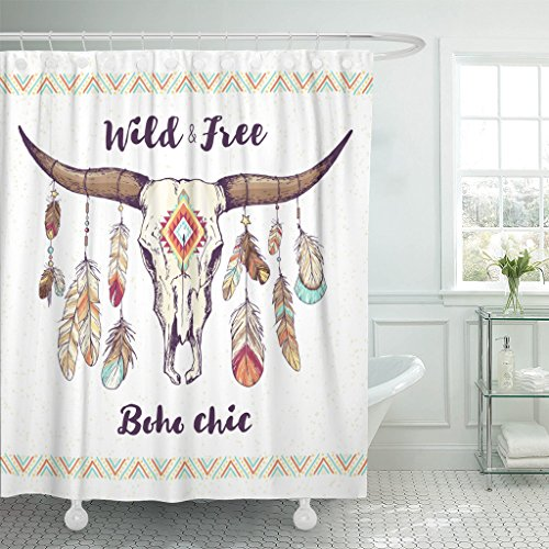 Emvency Shower Curtain Boho Chic Ethnic Native American Mexican Bull Skull with Feathers on Horns and Traditional Tribal Waterproof Polyester Fabric 72 x 72 inches Set with Hooks by Emvency