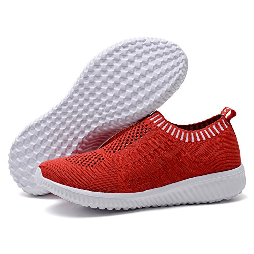 TIOSEBON Mesh Shoes Comfortable 6701 Sneakers Work Casual Athletic Red Walking Women's rwqX1r