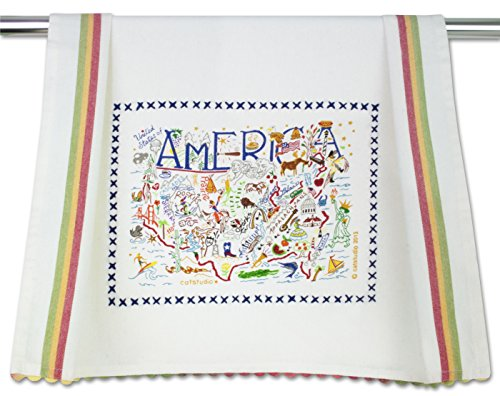 Catstudio America Dish Towel | Patriotic Gift Featuring Original Artwork Celebrating the Sights, History and Landmarks of the United States of America (Rick Rack Vintage)