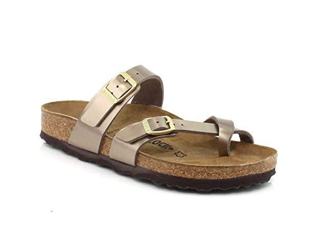 Birkenstock Women's Mayari Sandal Electric Taupe Birko-Flor Size 41 M EU best women's flip flops for plantar fasciitis