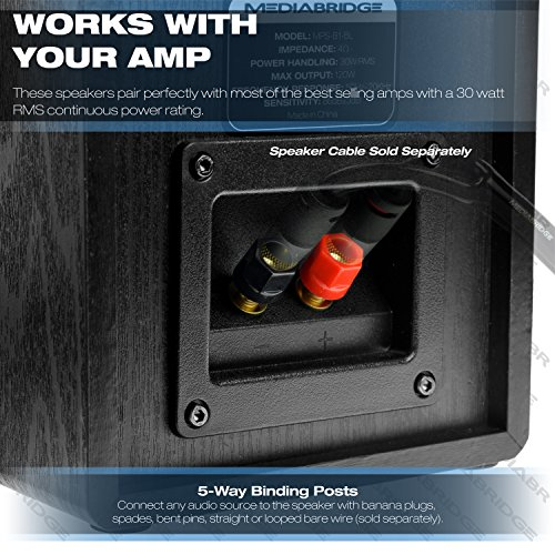 Mediabridge Bookshelf Speakers Pair With 4-Inch Carbon Fiber Woofer & 1-Inch Silk Dome Tweeter - Black Enclosure (Part# MS-BP1B) by Mediabridge (Image #4)