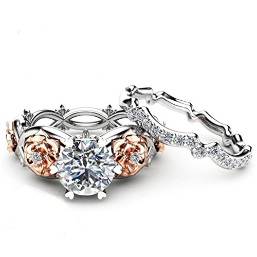 Bookear Women Silver & Rose Gold Filed White Wedding Engagement Floral Ring Set (6) -