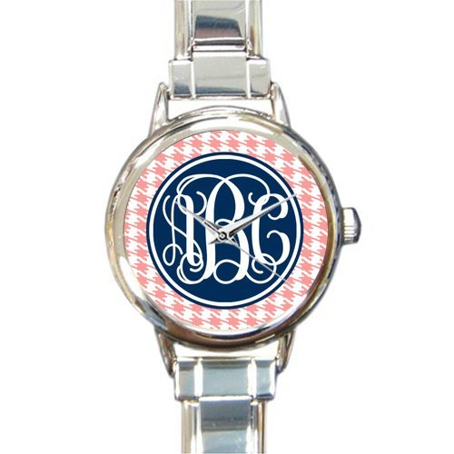 (Christmas Families Gifts Monogrammed Houndstooth Pattern Steel Round Italian Watch)