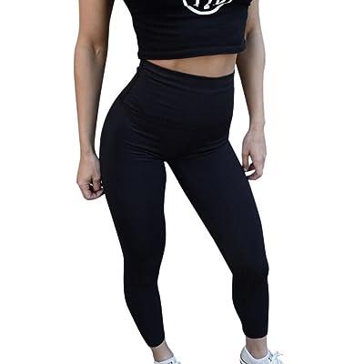ADESHOP Femmes Taille Haute Yoga Fitness Leggings En Cours D'ExéCution Gym Stretch Sports Pantalon Pantalon Femmes Couleur Pure Grande Taille Exercice Confortable Jogging Pantalons (S, Noir)