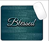 Blessed Script Dark Color Teal Green Blessed Word Mouse Pad (SQUARE)