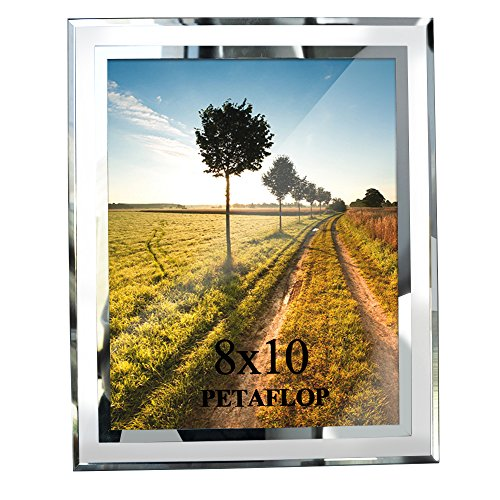 PETAFLOP 8x10 Picture Frames Real Glass for Photo Display Stand on Tabletop - Crystal Photo Frame