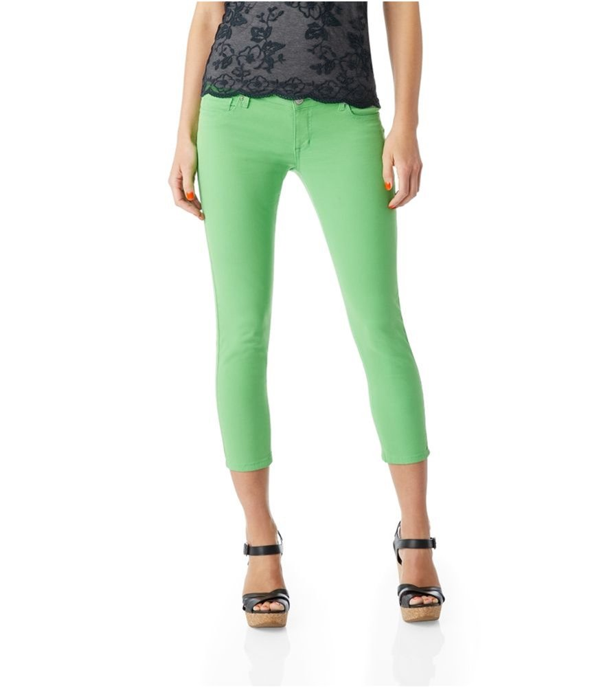 Aeropostale Womens Colorful Cropped Jeggings Green 5/6x24 - Juniors