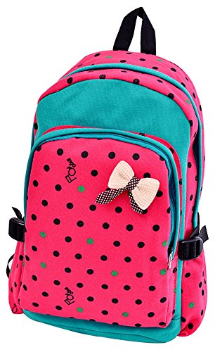 Generic Canvas Shoulder Backpack Casual (Watermelon Red)