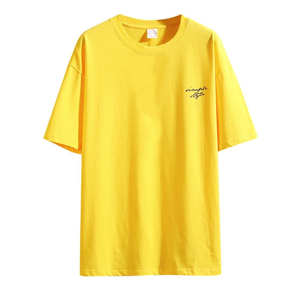 Sengei Men T-Shirt Casual, Short Sleeve T-Shirt Print Mens Tops Blouse Plus Size for Summer Size S-5XL (M, Yellow) by Sengei
