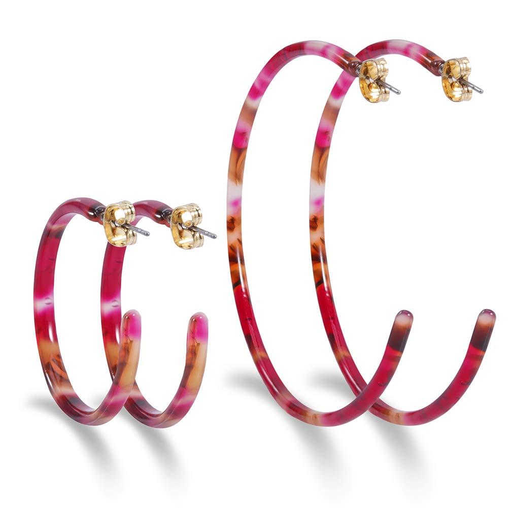 Statement Stud Earrings Bohemian Acrylic Earrings for Women Resin Hoop Earrings Fashion(Burgundy)