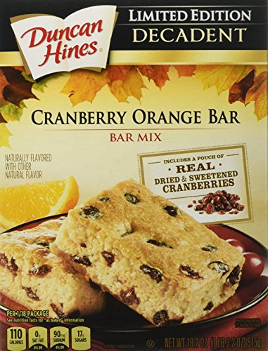 Duncan Hines Decadent Bar Mix, Cranberry Orange, 18.2 Ounce