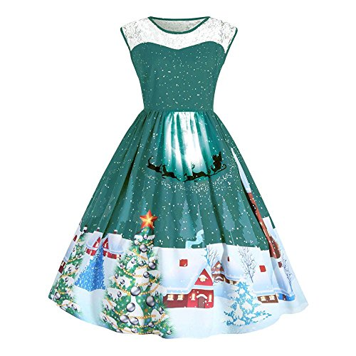 Sipring Women Christmas Dress With Lace Print Sleeveless Pin Up Swing Plus Size Party Cocktail Dress (XL, Green)