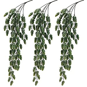 "Aisamco 3 Pcs Artificial Hops Flower Vine Garland Plant Fake Hanging Vine Hops Faux Hops Artificial Hanging Plants in Frosted Green 29.5"" in Length for Indoor Outdoor Front Porch Flower Decor 106"
