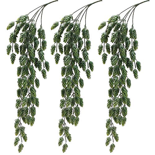 Aisamco 3 Pcs Artificial Hops Flower Vine Garland Plant Fake Hanging Vine Hops Faux Hops Artificial Hanging Plants in Frosted Green 29.5