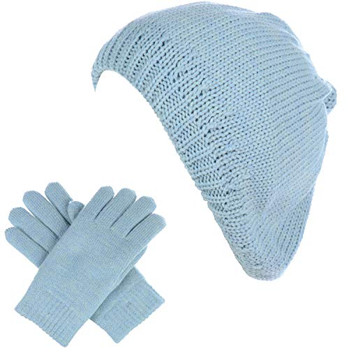 BYOS Womens Winter Solid Toasty Warm Fleece Lined Knit Beret Beanie Hat & Set ()