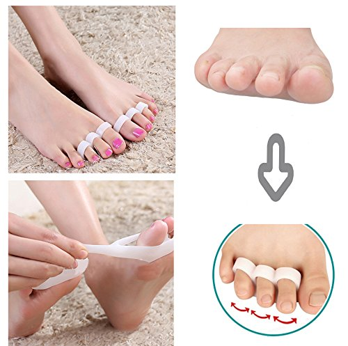 Pevor Hammer Toe Gel Pads - Corrector & Straightener for Curled, Curved, Claw & Mallet Toe Relief (Bunion Pads)