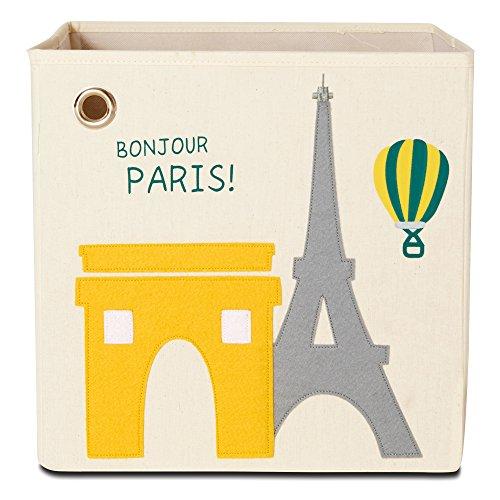 Storage Box by kaikai & ash, Canvas Foldable Toy Bin, Travel Theme Decor for Kids Room and Baby Nursery - Bonjour Paris!