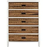 Modus Furniture 9WF484 Montana Five-Drawer Chest, White Lacquer and Natural Sengon