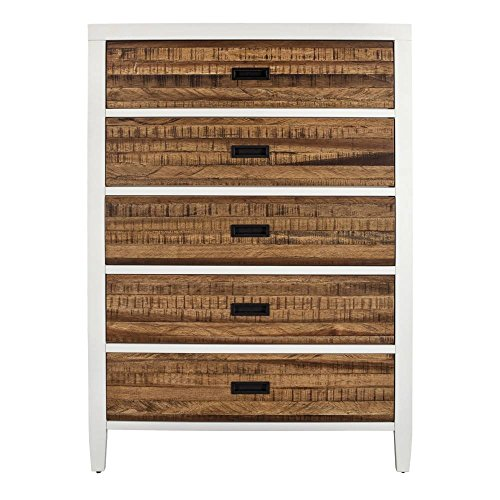 - Modus Furniture 9WF484 Montana Five-Drawer Chest, White Lacquer and Natural Sengon