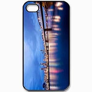 Protective Case Back Cover For iPhone 4 4S Case USA Oregon Portland Evening Lighting Lights Black