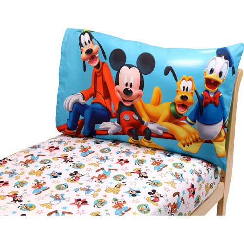 2 Piece Kids Blue White Mickey Mouse Toddler Bed Set, Yellow Red Disney Goofy Bedding Daffy Duck Comforter Stars Music Pattern Geometric Star Design Movie Character Television Kids Bedroom, Polyester