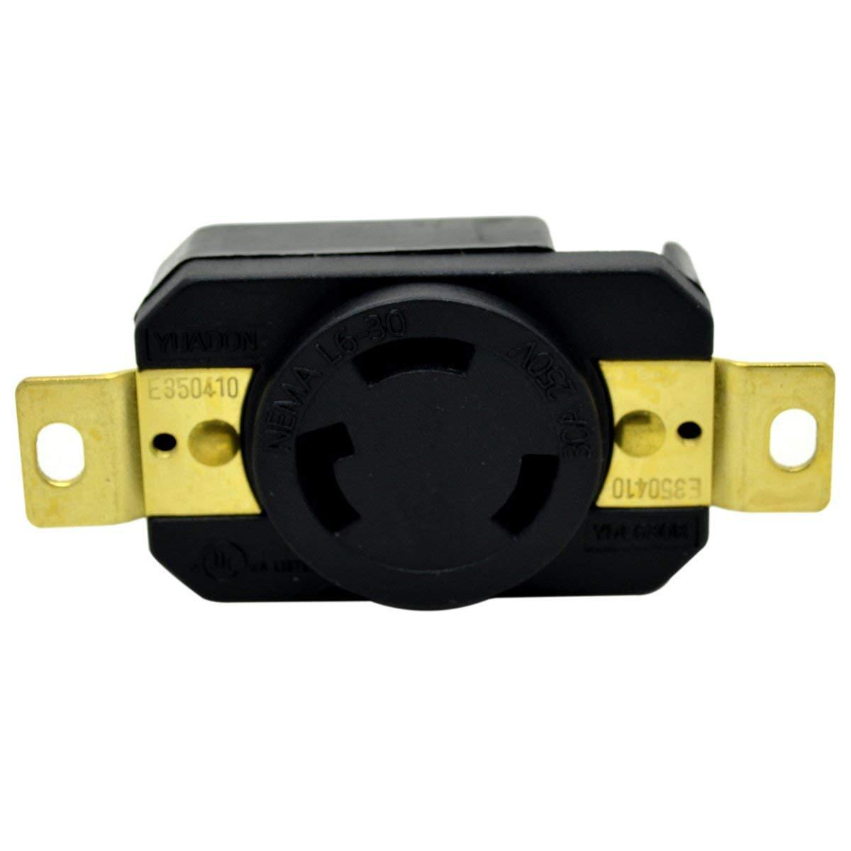 YuaDon NEMA L6-30R General-purpose Twist Locking Receptacle 2 Pole,3 Wire,250Volt AC,30 Amp,Grounding by YuaDon (Image #1)