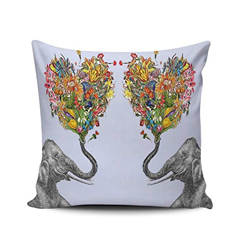 XIAFA Petal Heart and Elephant Art Home Decoration Pillowcase 18X18 inch Square Stylish Design Throw Pillow Case Cushion Cover Double Sided Printed (Set of 1)
