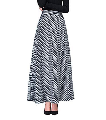 Femme lgant Houndstooth Longue Jupes de Laine Automne Hiver Taille lastique Chaud A-Ligne Taille Haute Jupe plisse Noir et Blanc