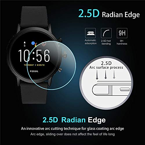 Suoman 3-Pack for Fossil Men Gen 5 Carlyle Screen Protector Tempered Glass for Fossil Men Gen 5 Smartwatch [2.5D 9H Hardness] [Anti-Scratch] [Bubble-Free]