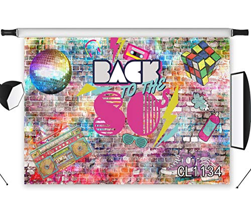 LB Back to The 80s Graffiti Backdrops for Photography 7x5ft Colorful Brick Wall Backdrop Vintage Radio Party Banner Background Photo Studio Shooting Props CL1134]()