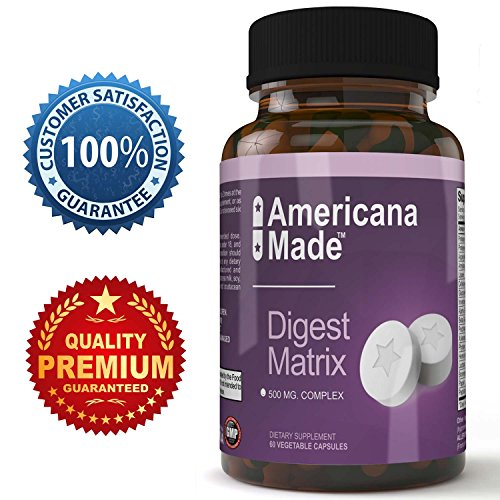 Digestive Enzyme Supplement with Amylase Bromelain Lipase for Healthy Digestion 500 Milligram Complex Dietary Supplement 60 Vegetable Capsules Americana Made for Men and Women