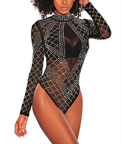 Ussuperstar Women's Sheer Long Sleeve Faux Bustier Mesh Bodysuit Gold Rhinestone Clubwear (Black-2, S)