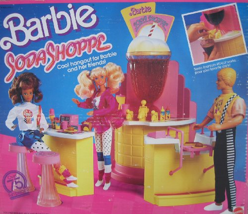 Barbie SODA SHOPPE 75+ Piece Playset SODA SHOP w Working FOUNTAIN (1988 Mattel Hawthorne) (Soda Shop Barbie)