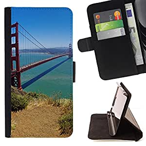 For HTC One M7 - San Francisco Bridge /Funda de piel cubierta de la carpeta Foilo con cierre magn???¡¯????tico/ - Super Marley Shop -