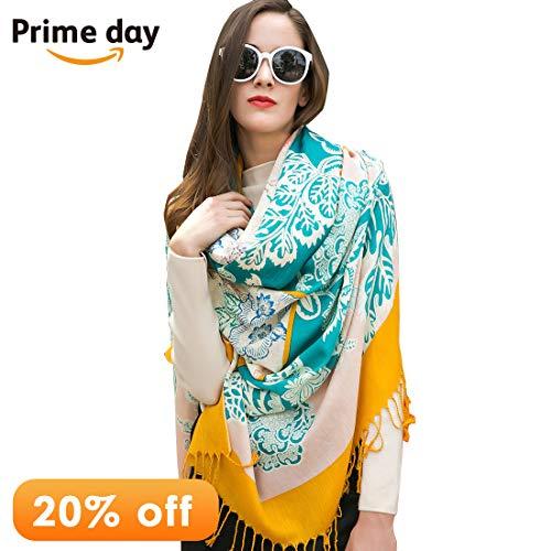 DANA XU 100% Pure Wool Women Winter Large Size Pashmina Travel Shawl (Blue&Yellow) (Fine Wool Shawl)