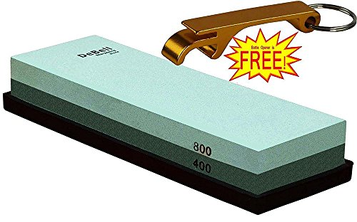 DeBell Double Side 400 Grit and 800 Grit Sharpening Stone with Silicone Base