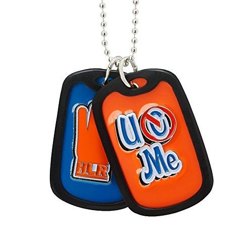 John Cena Blue Orange WWE Never Give Up Pendant with silver link chain dog tags
